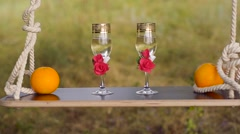 Glasses and oranges on a swing. Stock Footage