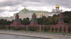Distant marathon amateur runners against Russian landmark Moscow Kremlin. 4K Stock Footage