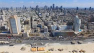 Tel Aviv skyline - Moving in from the mediterranean sea, Aerial footage Stock Footage