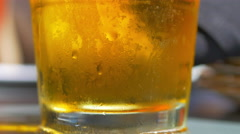 4K Beer Bubbles, Glass Sleeve Macro Close Up, Cool Glass Condensation Stock Footage