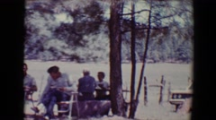 1967: people gathered out side eating and talking TUCSON, ARIZONA Stock Footage