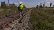 Railroad worker near the rails Stock Footage
