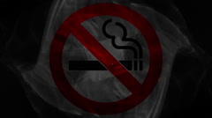 No smoking sign coming up in a cloud of smoke on black background Stock Footage