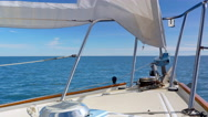 4K Close Up View of Sailboat Bow, Beautiful Blue Water Horizon, Boat Cruising Stock Footage
