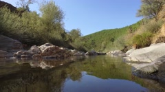 Stream river with clear water steady shot gimbal 4k Stock Footage