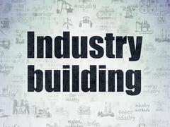 Industry concept: Industry Building on Digital Data Paper background Stock Illustration