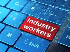 Industry concept: Industry Workers on computer keyboard background Stock Illustration