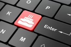 Entertainment, concept: Cake on computer keyboard background Stock Illustration