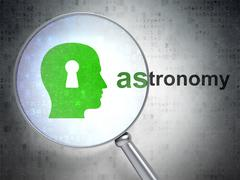 Learning concept: Head With Keyhole and Astronomy with optical glass Stock Illustration