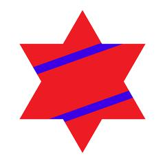 Red Jewish Star with Blue Stripes on White Background. Vector Il Piirros