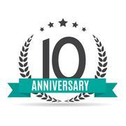 Template Logo 10 Years Anniversary Vector Illustration Stock Illustration