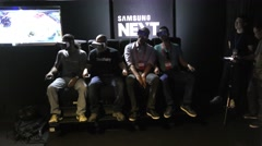 Samsung delights with an immersive VR content experience Theater with 4D chair Stock Footage
