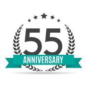 Template Logo 55 Years Anniversary Vector Illustration Stock Illustration