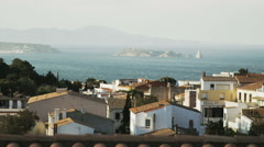 Beautiful Catalunya scenary. White houses, sea and islands in perspective Stock Footage