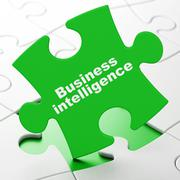 Business concept: Business Intelligence on puzzle background Stock Illustration