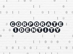 Finance concept: Corporate Identity on wall background Piirros