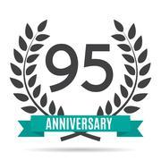 Template Logo 95 Years Anniversary Vector Illustration Stock Illustration