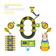 Production Line Top View Stock Illustration