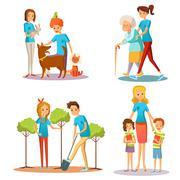 Volunteer People Help Flat Cartoon Collection Stock Illustration