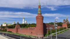 Russian landmark Moscow Kremlin and moving shadows of floating clouds. 4K Stock Footage