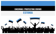 Cheering or Protesting Crowd Estonia Stock Illustration
