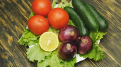 Assortment of fresh vegetables close up rotate Stock Footage