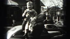1946: man lifts little boy onto shoulder HARRISBURG Stock Footage