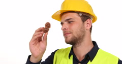 Gemologist Engineer Man Checking Yellow Aragonite Mineral and Analyzing Crystal Stock Footage