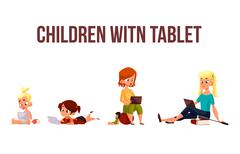 Children play in the smartphone or tablet Stock Illustration