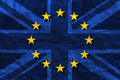 Flags of the United Kingdom and the European Union combined on crumpled paper ba Stock Illustration