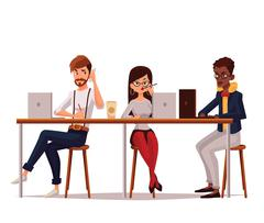 Joint work in coworking center Stock Illustration