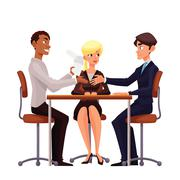 Business discussion at the table of employees Stock Illustration
