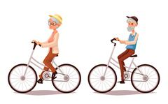 Elderly couple riding their bicycles Stock Illustration