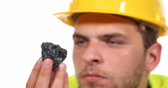 Supervisor Engineer Man Look Rare Mineral Silicon Carbide Examine Good Standing Stock Footage