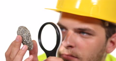 Confident Engineer Man Specialist Look Granite Stone Magnifying Glass Examining Stock Footage