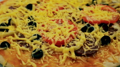 The pizza is baked in the oven. Stock Footage