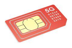 5G sim card mini, micro, nano. 3D rendering Stock Illustration