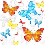 Butterflies seamless pattern Stock Illustration
