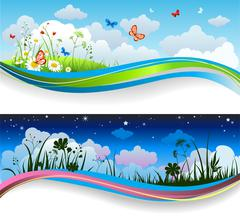 Day and night summer banners Stock Illustration