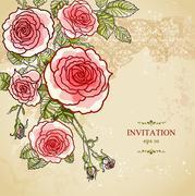 Floral invitation background Stock Illustration