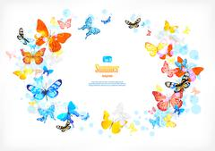 Frame with beautiful butterflies Stock Illustration