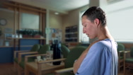 4K Worried Woman Cancer Patient, Hospital Waiting Room Illness Treatment Patient Stock Footage