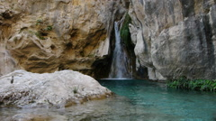 Waterfall and natural pool Stock Footage
