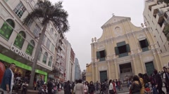 Exterior of Saint Dominic's, a historic Catholic church in downtown Macau Stock Footage