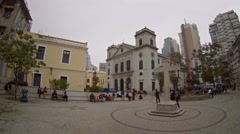 Historic church building and urban courtyard in Macau Stock Footage