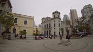 Historic church building and urban courtyard in Macau Stock Footage
