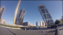 Traffic in Castilla square in time lapse in Madrid, Spain Stock Footage