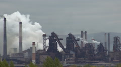Pollution of Nature Smoke Industrial Plant, Fume Emissions Into the Air. Autumn Stock Footage