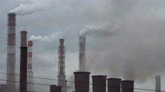 Pipes the Industrial Enterprise Lot of Smoke in the Air Stock Footage