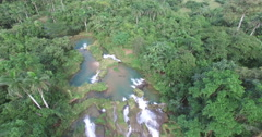 Bird's-eye view from drone to mountains river and waterfall in a center of Stock Footage
